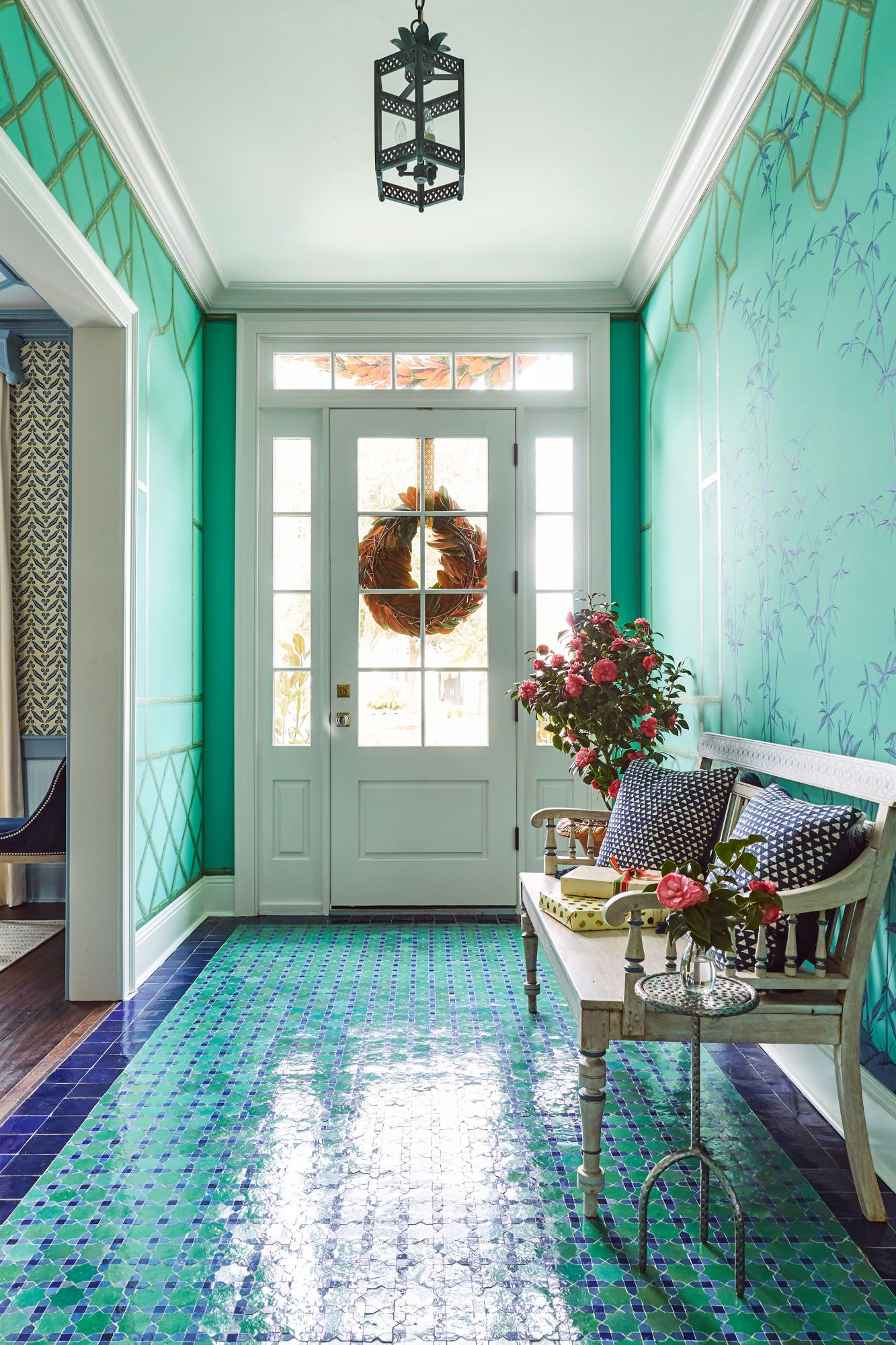 Andrew Howard Home Decorated for Christmas Blue and Green Foyer