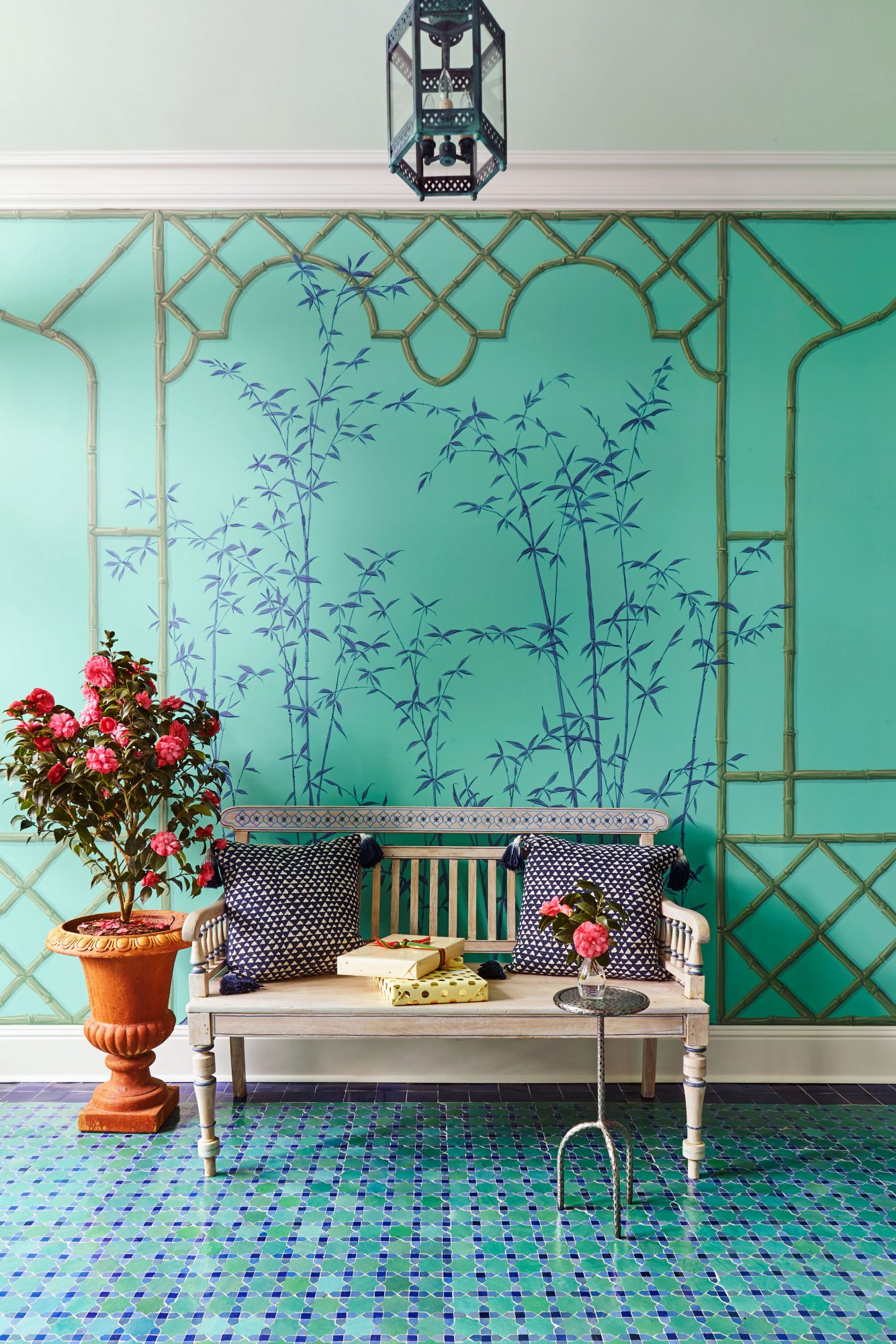 Andrew Howard Home for Christmas Green and Blue Foyer with Painted Mural