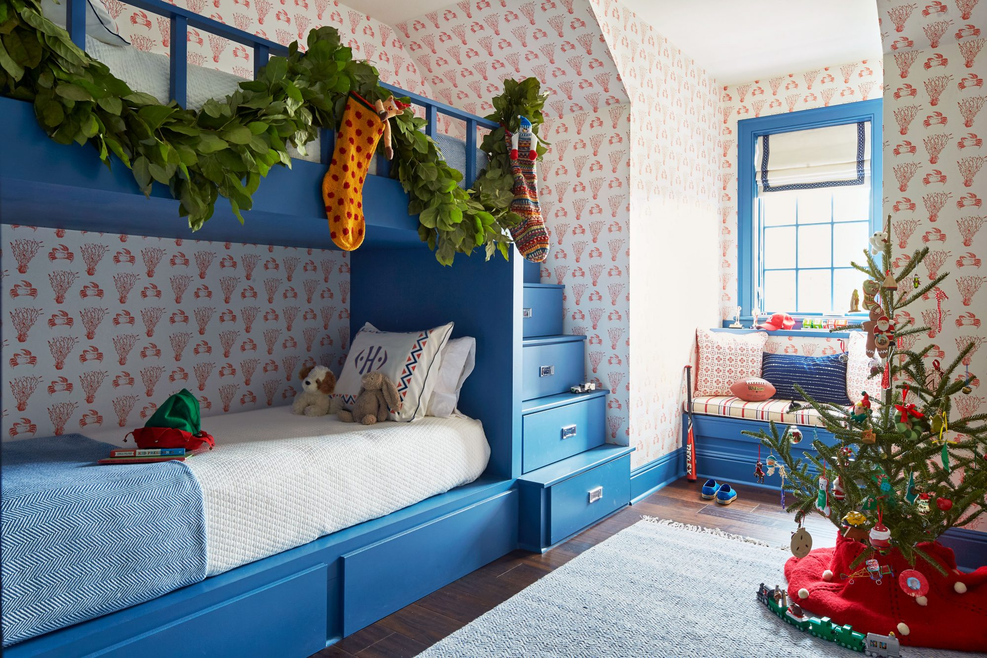 Andrew Howard Home Decorated for Christmas Blue Bunk Room