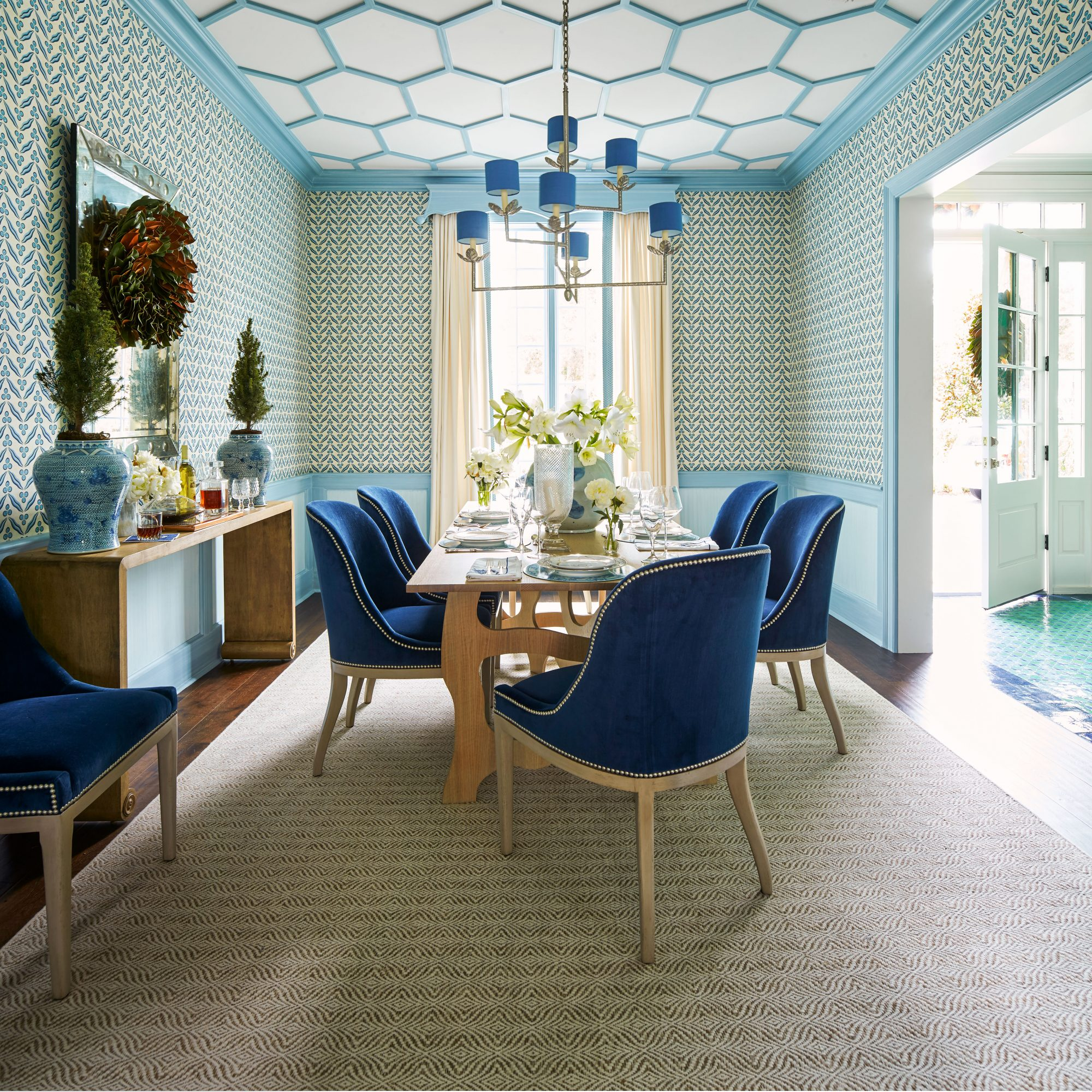 Andrew Howard Home Decorated for Christmas Blue and White Dining Room