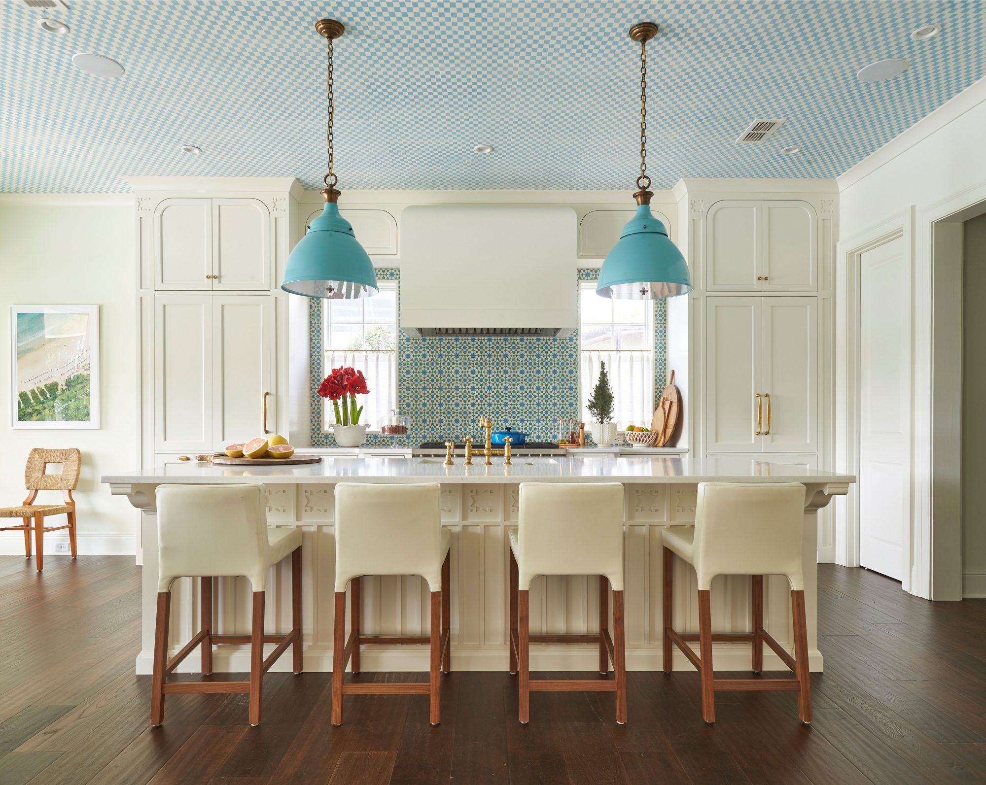 Andrew Howard Home Decorated for Christmas Blue and White Kitchen