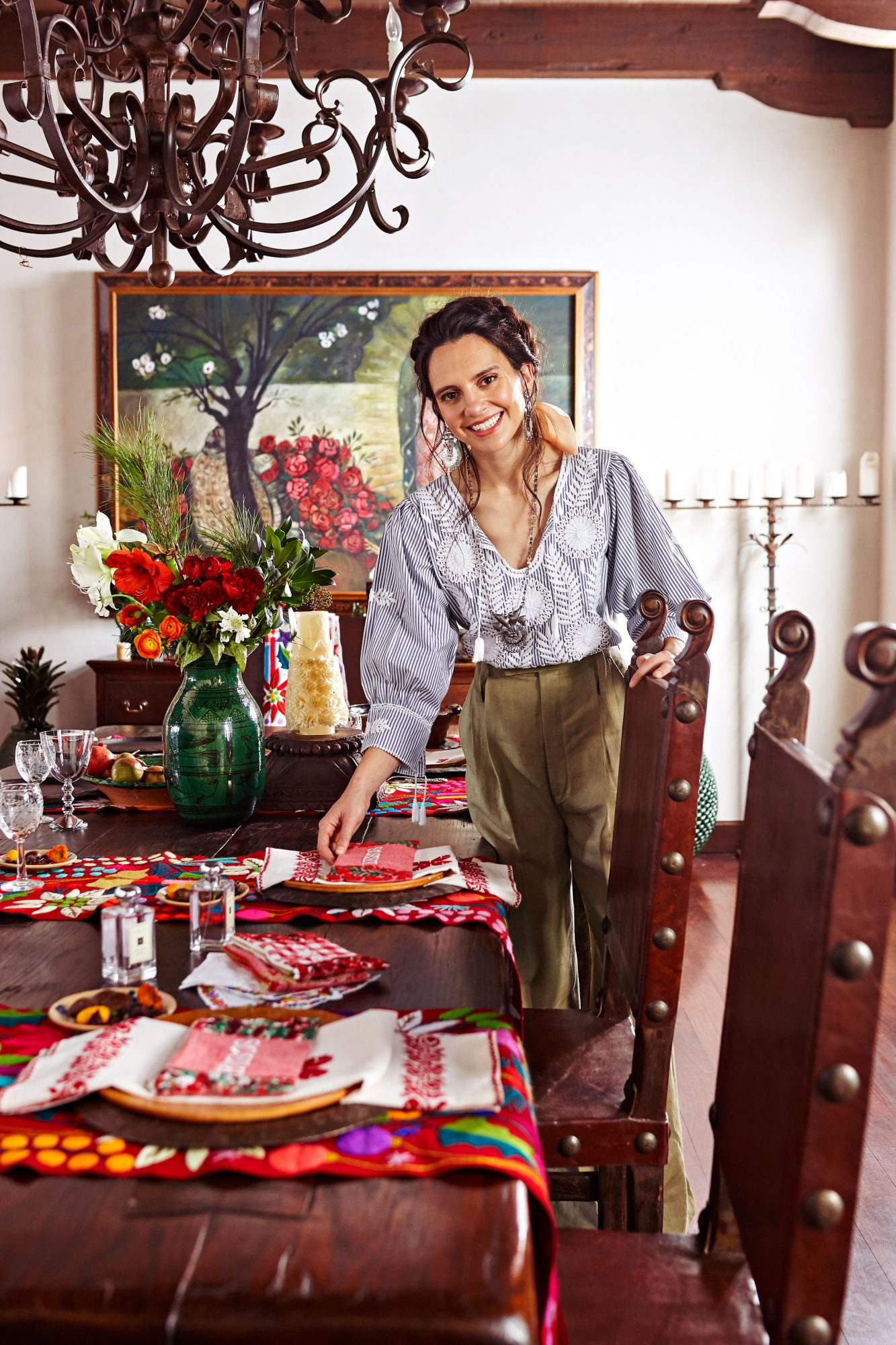 Cristina Lynch of Mi Golondrina Setting the Table for Her Holiday Party