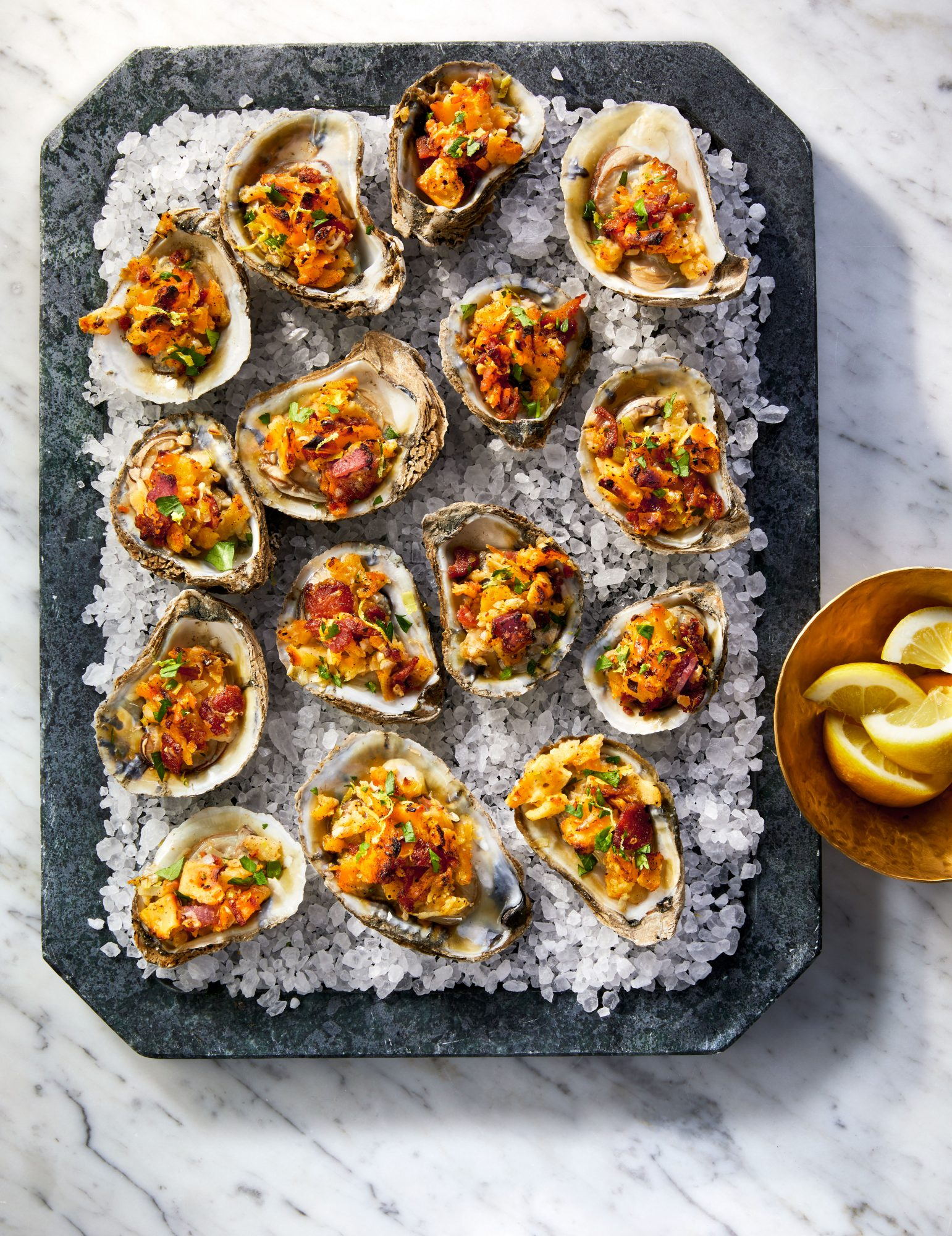 Roasted Oysters with Bacon-Saltine Topping