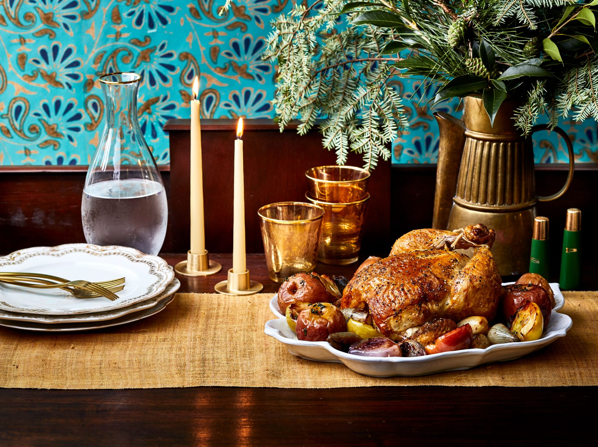 Roasted Chicken with Apples and Herbs