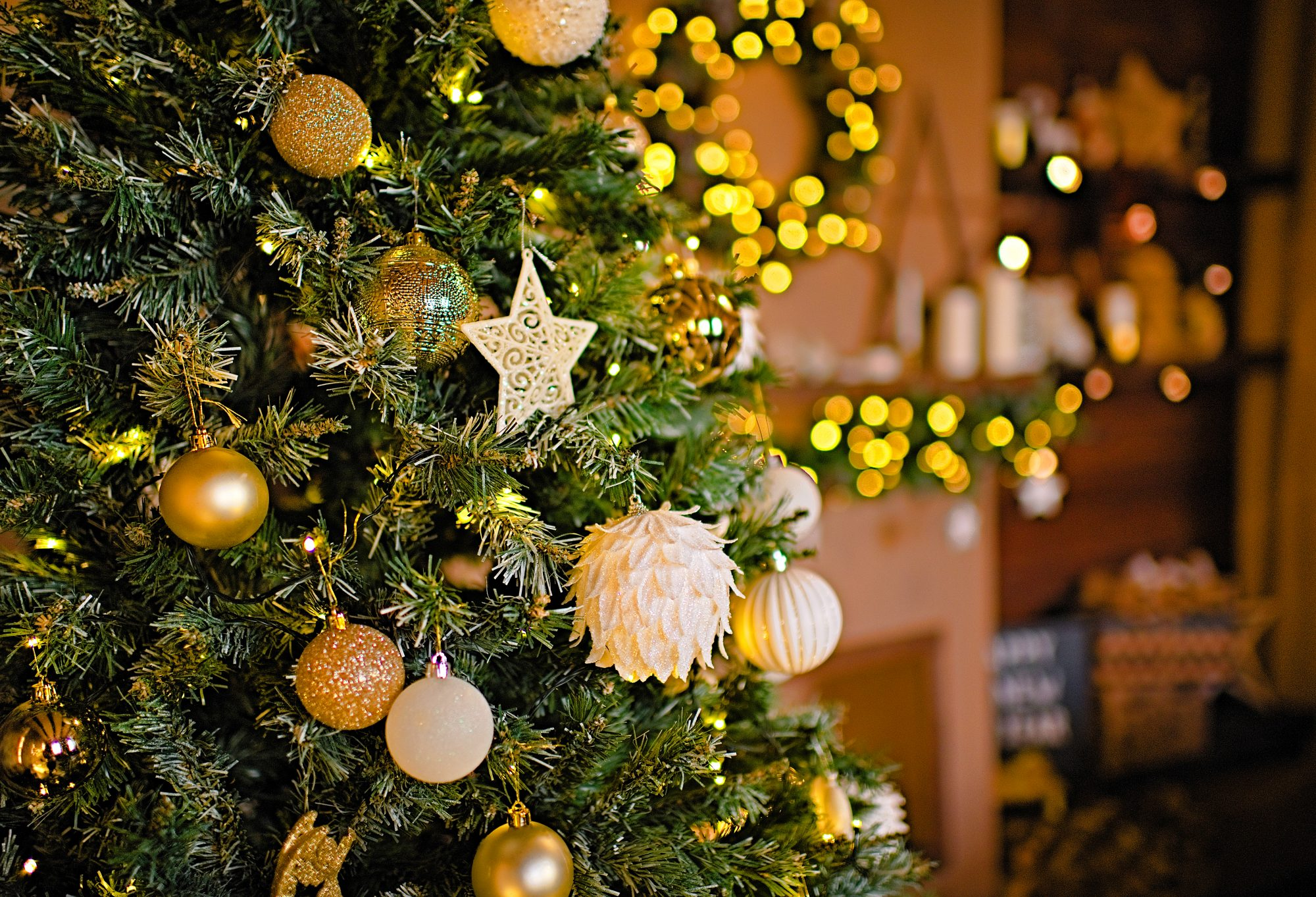 Christmas decorations background, fireplace christmas decoration, home decoration for Christmas, fireplaceб mantel decoration, christmas lights, gift box, candles, furtree