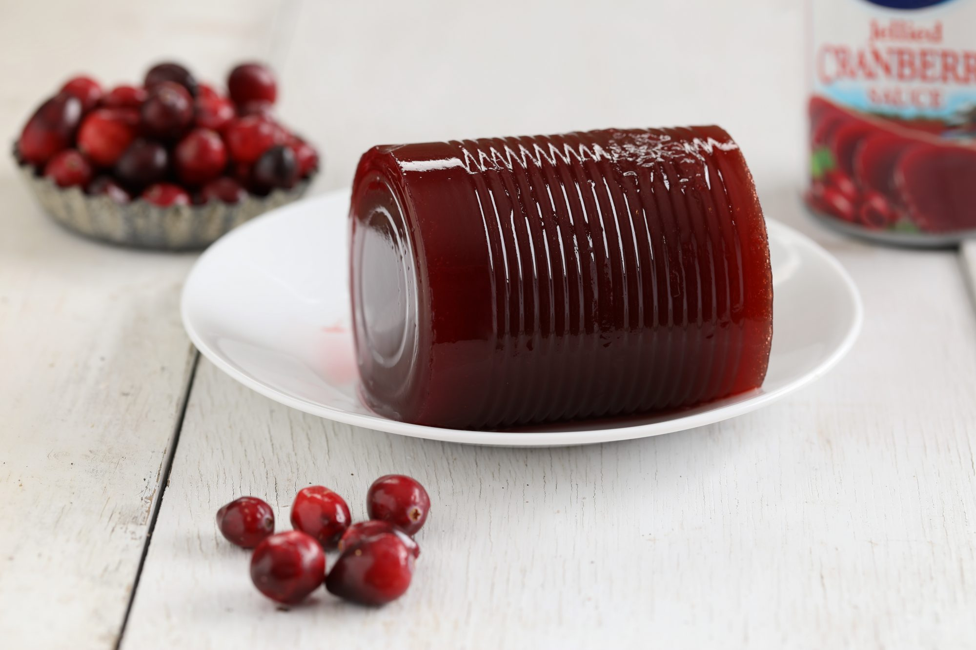 Canned Cranberry Sauce on Plate