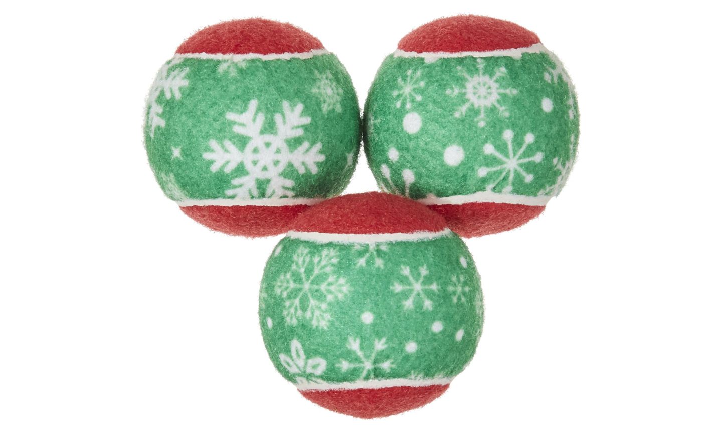 Red and Green Snowflake Tennis Balls