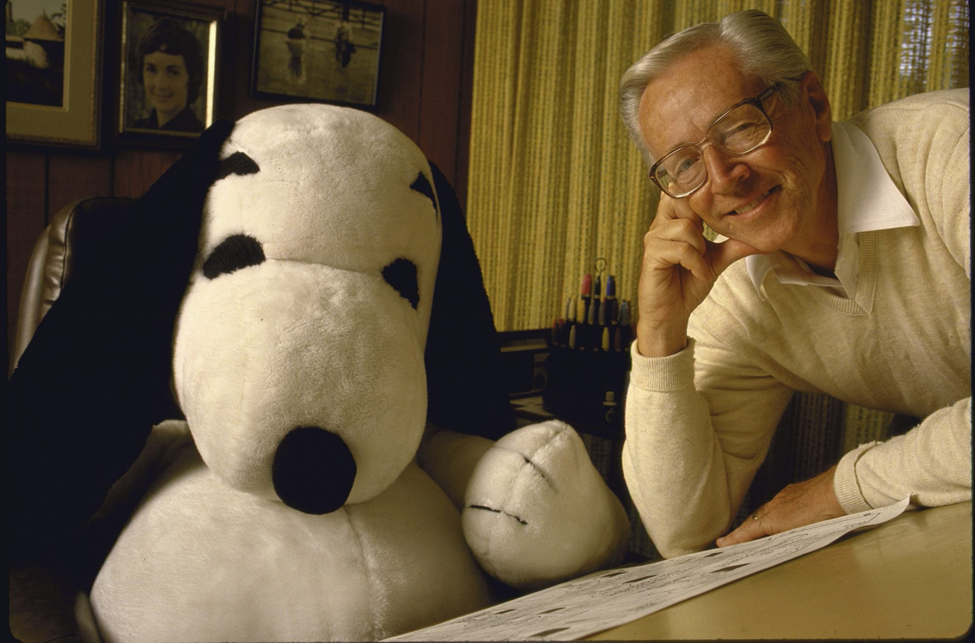 Charles Schulz with Toy Snoopy