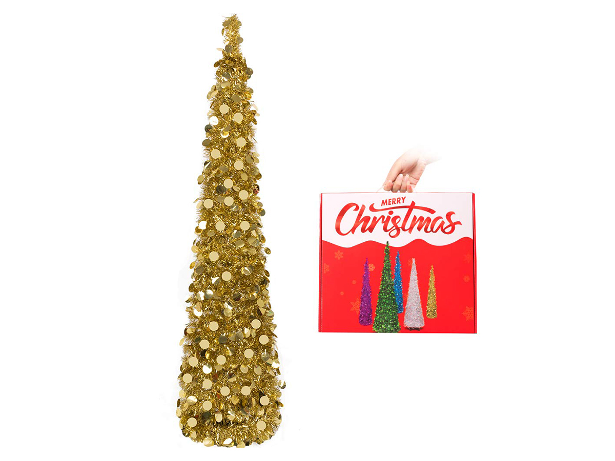 N&T NIETING Christmas Tree, 5ft Collapsible Pop Up Gold Tinsel Christmas Tree