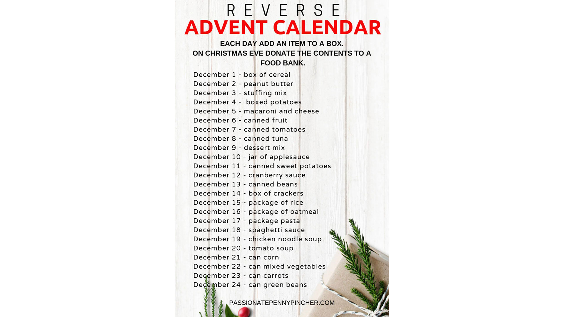 """This """"Reverse Advent Calendar"""" Makes Donating to Your Local Food Bank Fun and Festive"""
