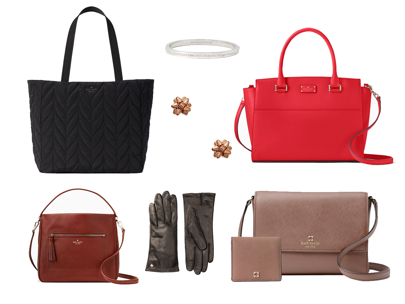 Kate Spade Bag Gloves and Jewelry Collage Tout