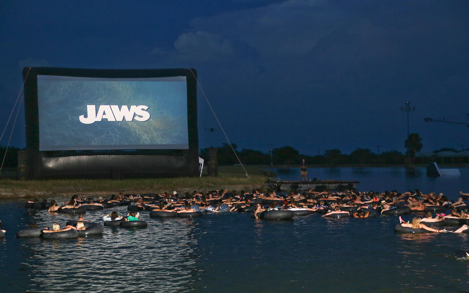 Watch 'JAWS' While Floating on an Innertube in a Lake