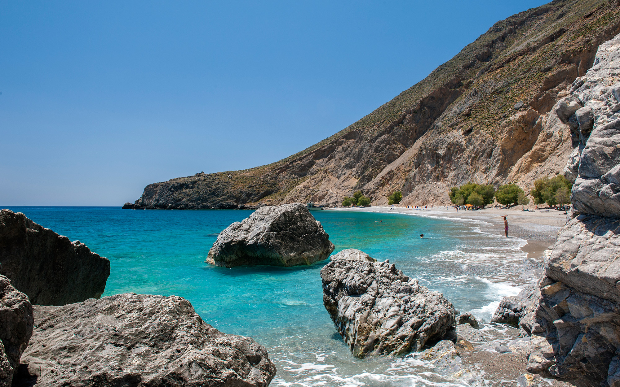 HORA SFAKION, CRETE, GREECE - 2014/05/21: View of secluded Sweetwater Beach between the villages of Hora Sfakion and Loutro on the southern coast of the Greek island of Crete. (Photo by Leisa Tyler/LightRocket via Getty Images)