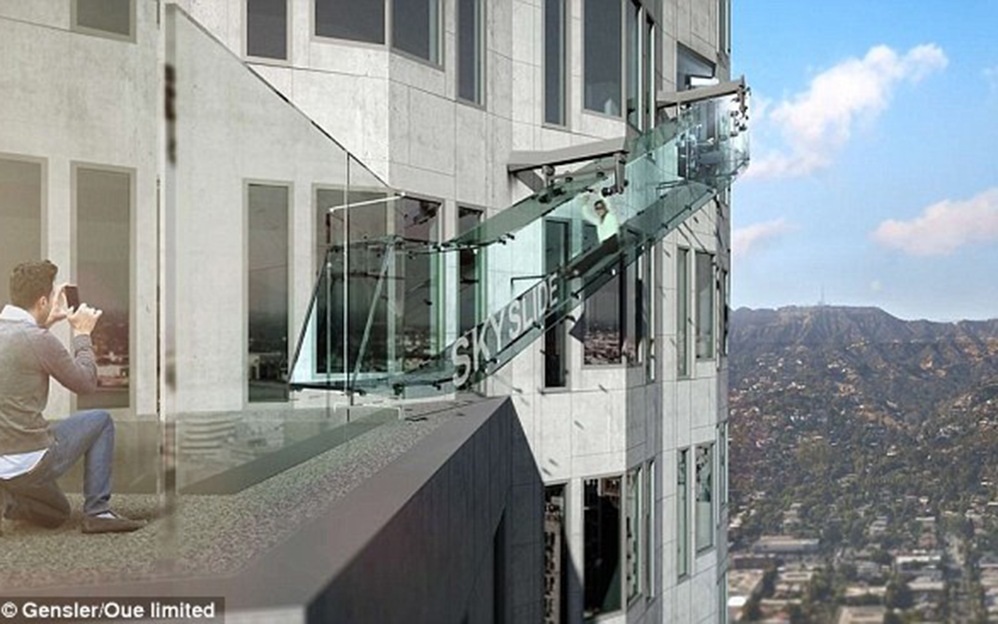 This L.A. Skyscraper Has a Glass Slide 1,000 Feet Off the Ground