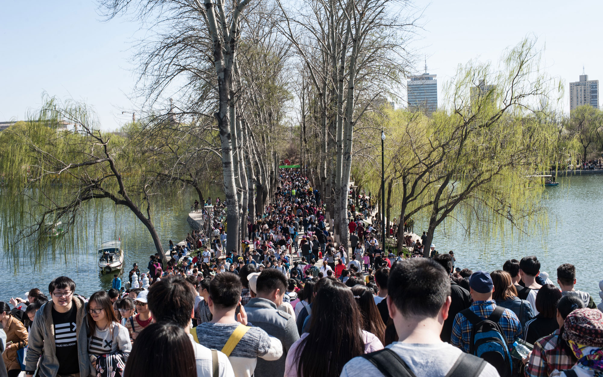 Tourists Crowd In Beijing Yuyuantan Park