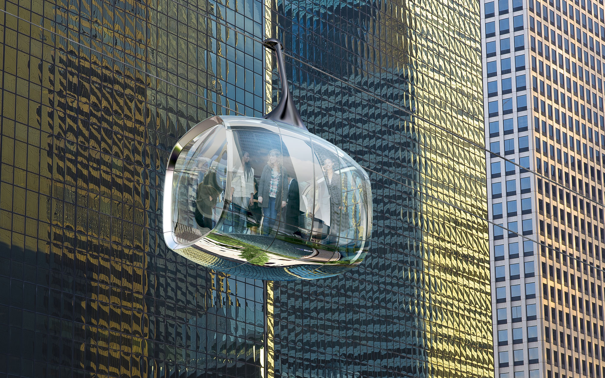 A Glass Cable Car Attraction Proposed for Chicago