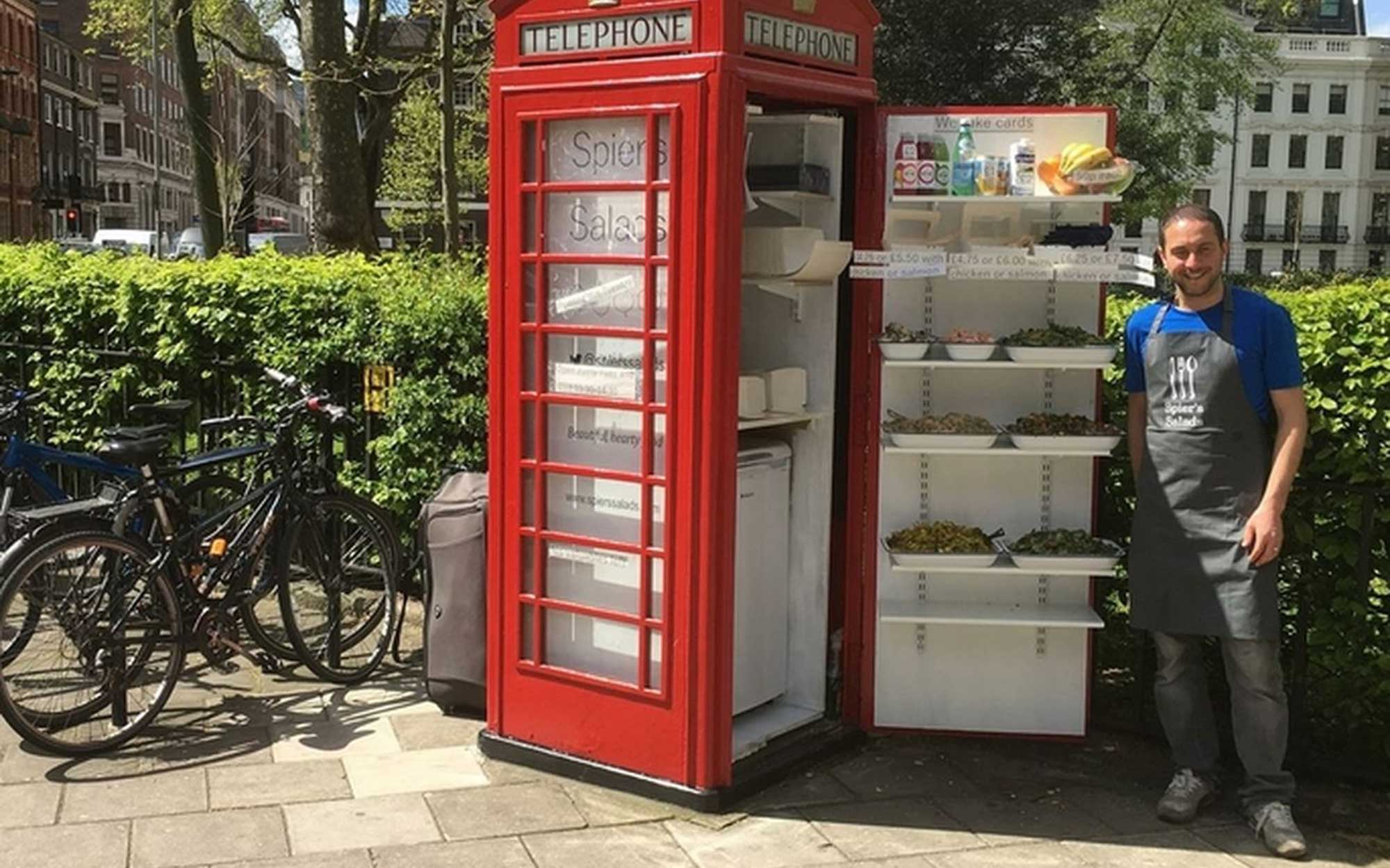 Man Opens Salad Bar in a London Phone Booth