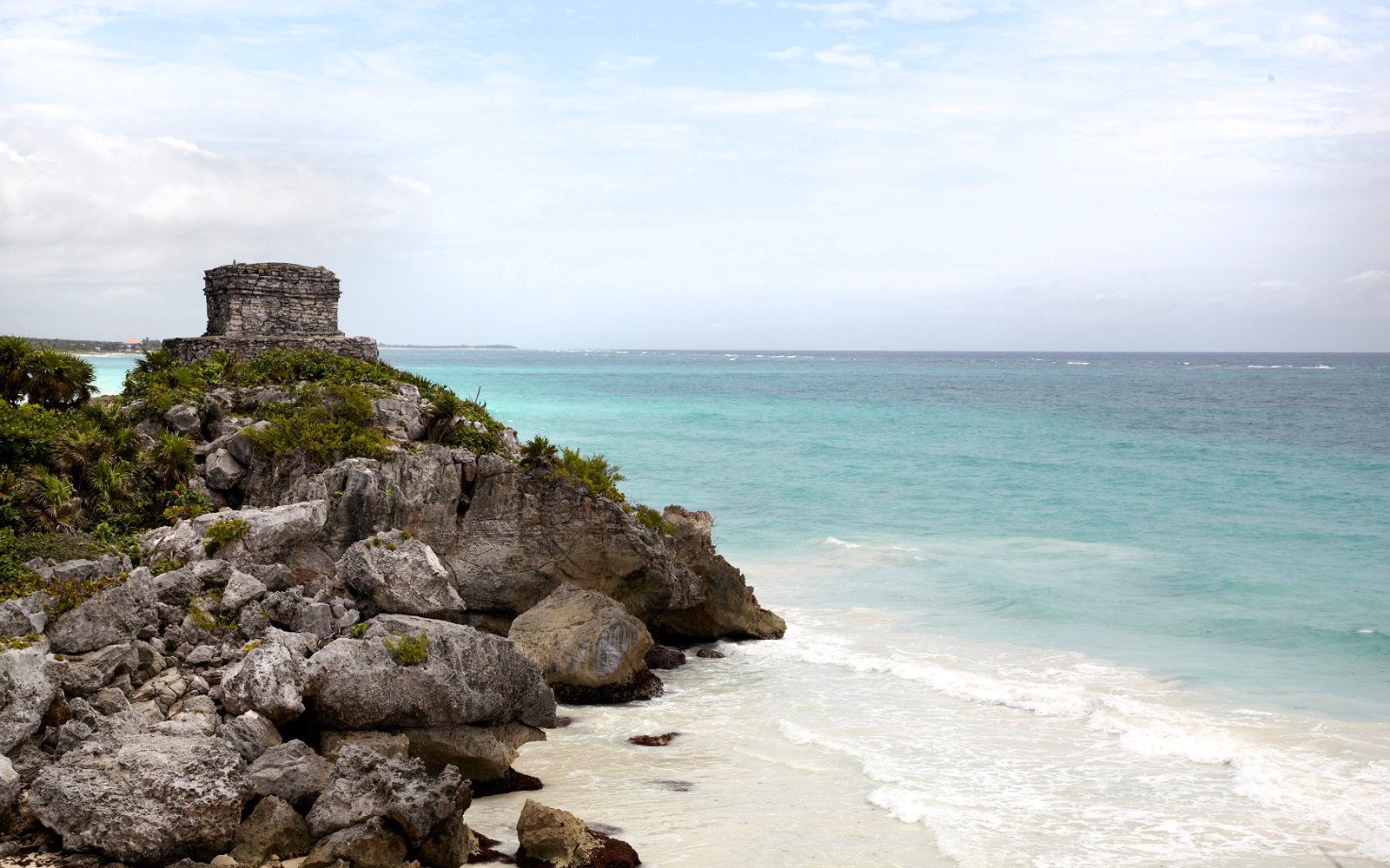 View of the beach by the Tulum ruins