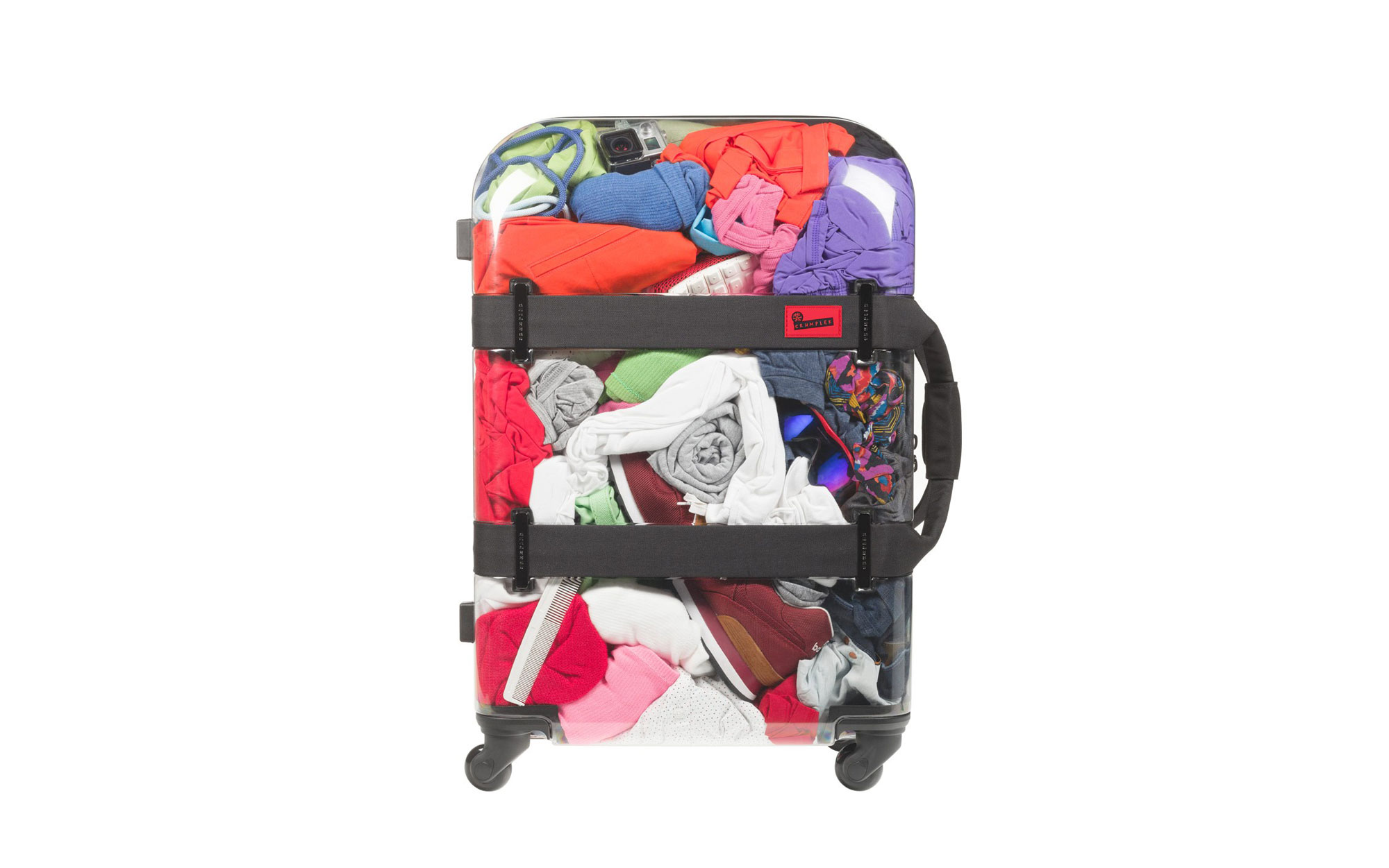 Show off your belongings in a see-through suitcase