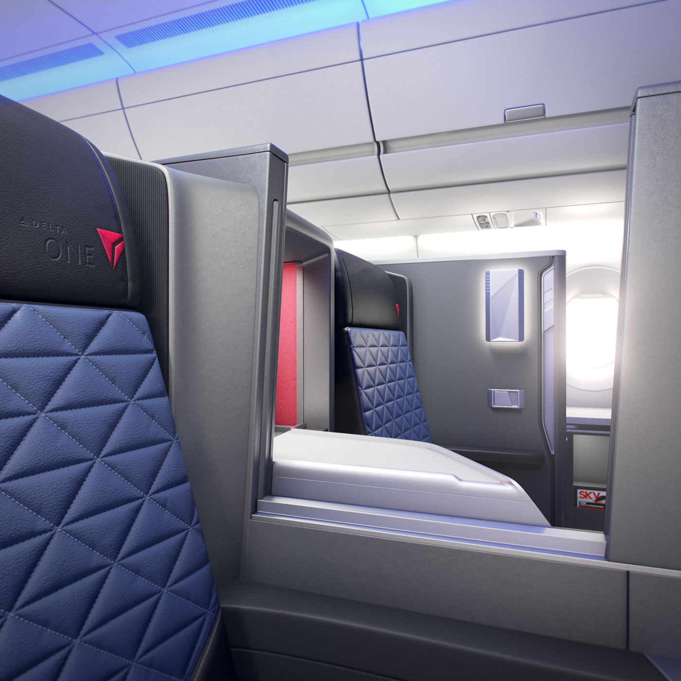 A closeup of the seats on Delta's business class A350.