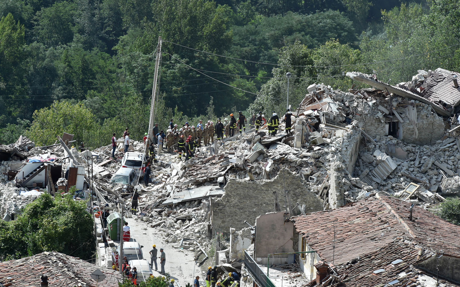 Destruction after an earthquake in central Italy on Aug. 24, 2016.