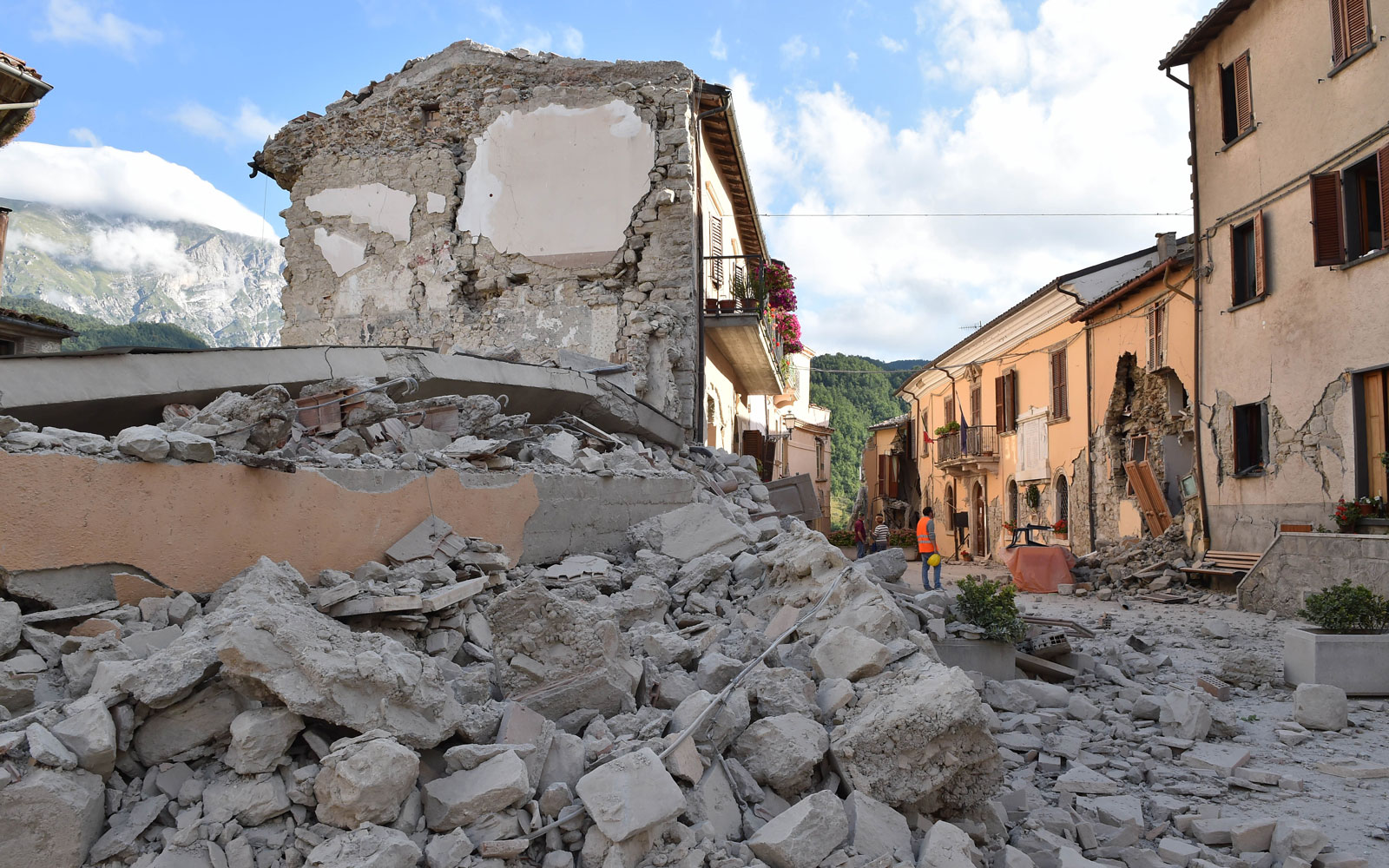 Devastation following an earthquake in central Italy.