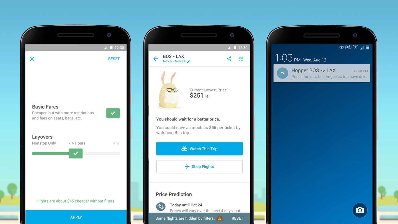 Hopper adds filters for airfare predictions.