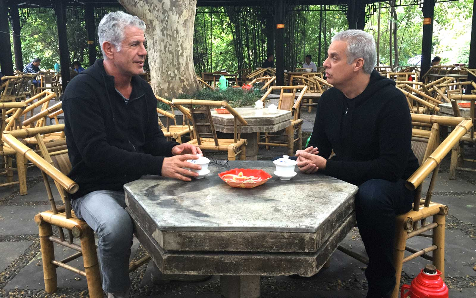 Anthony Bourdain and Eric Ripert Talk Speedos and Spices in Sichuan