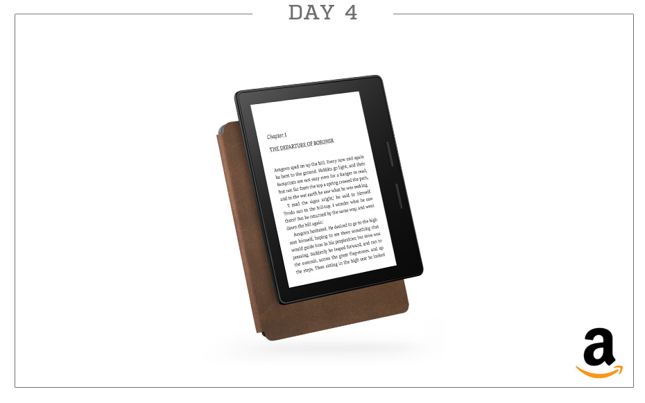 "Day 4: Amazon Kindle Oasis E-Reader with Leather Charging Cover (Black), 6"" High-Resolution Display (300 ppi), Wi-Fi"