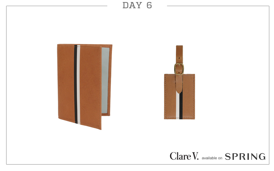 Day 6: Clare V Passport Case (Cuoio Vachetta w/ Black & Cream Stripes) & Clare V Luggage Tag (Cuoio Vachetta w/ Black & Cream Stripes)