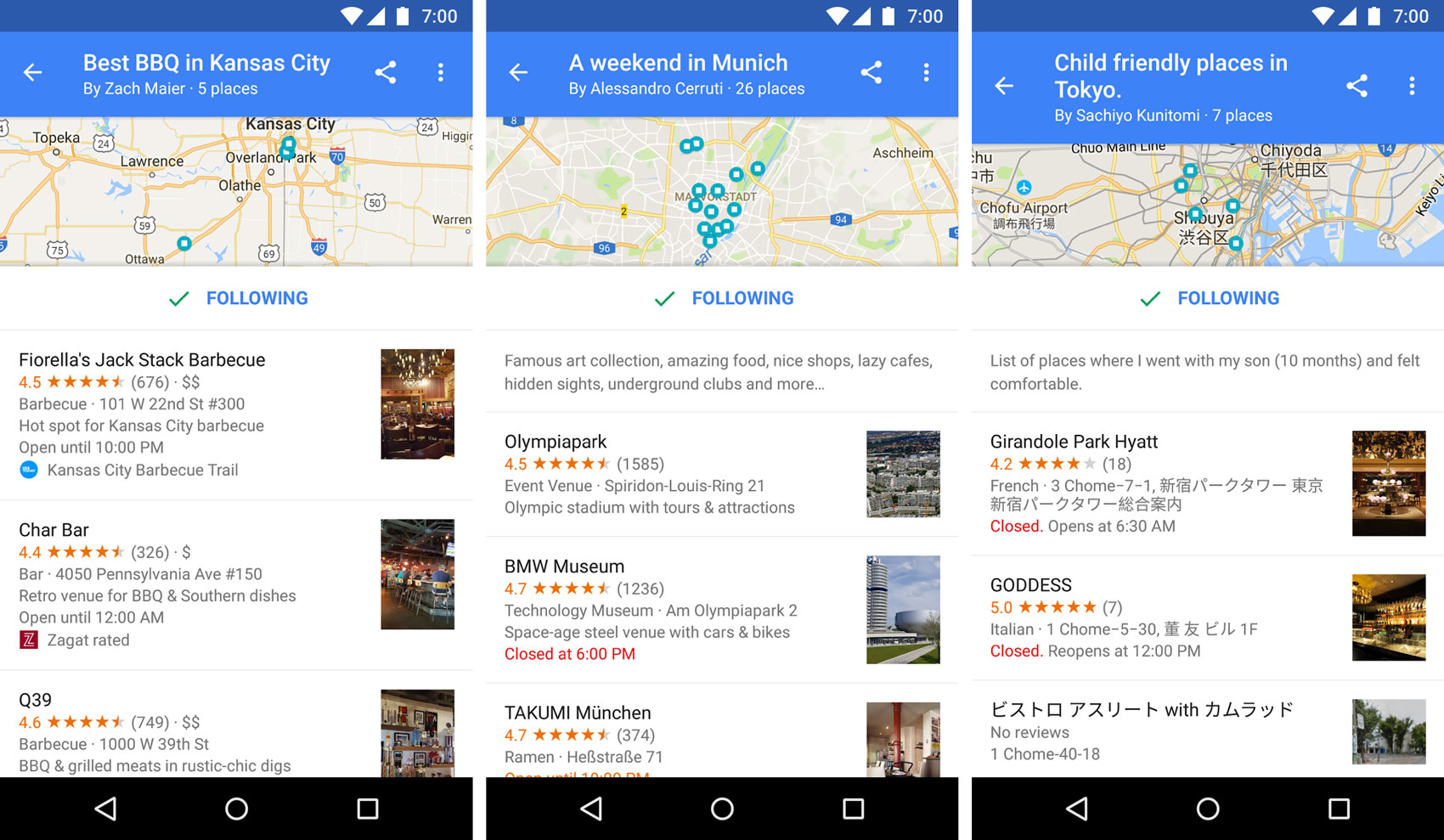 Google Maps adds Lists to create, share, and follow lists of places you want to go.