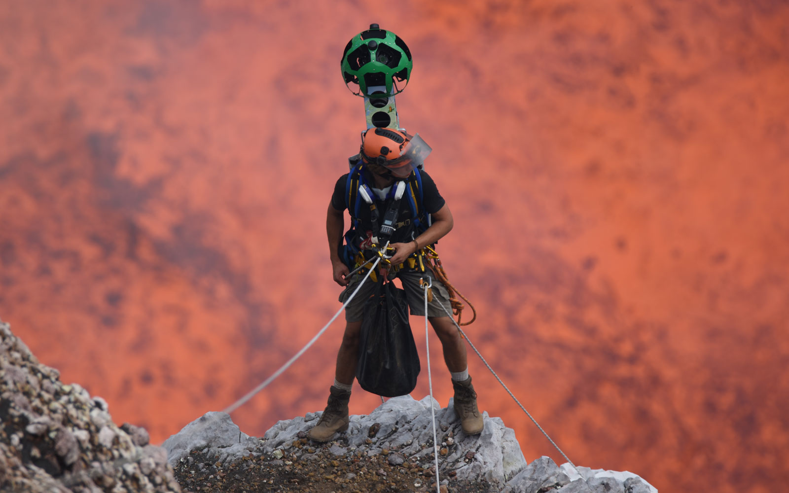 Go inside an active volcano with Google Street View.