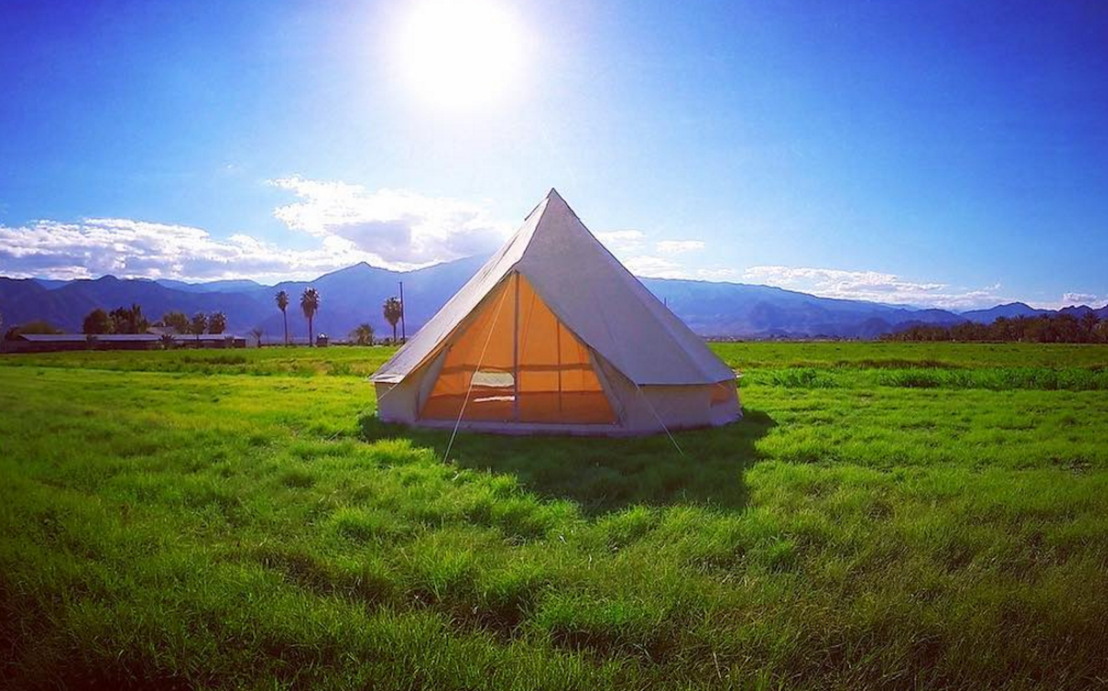 A tent at Base Camp Coachella in Indio, California