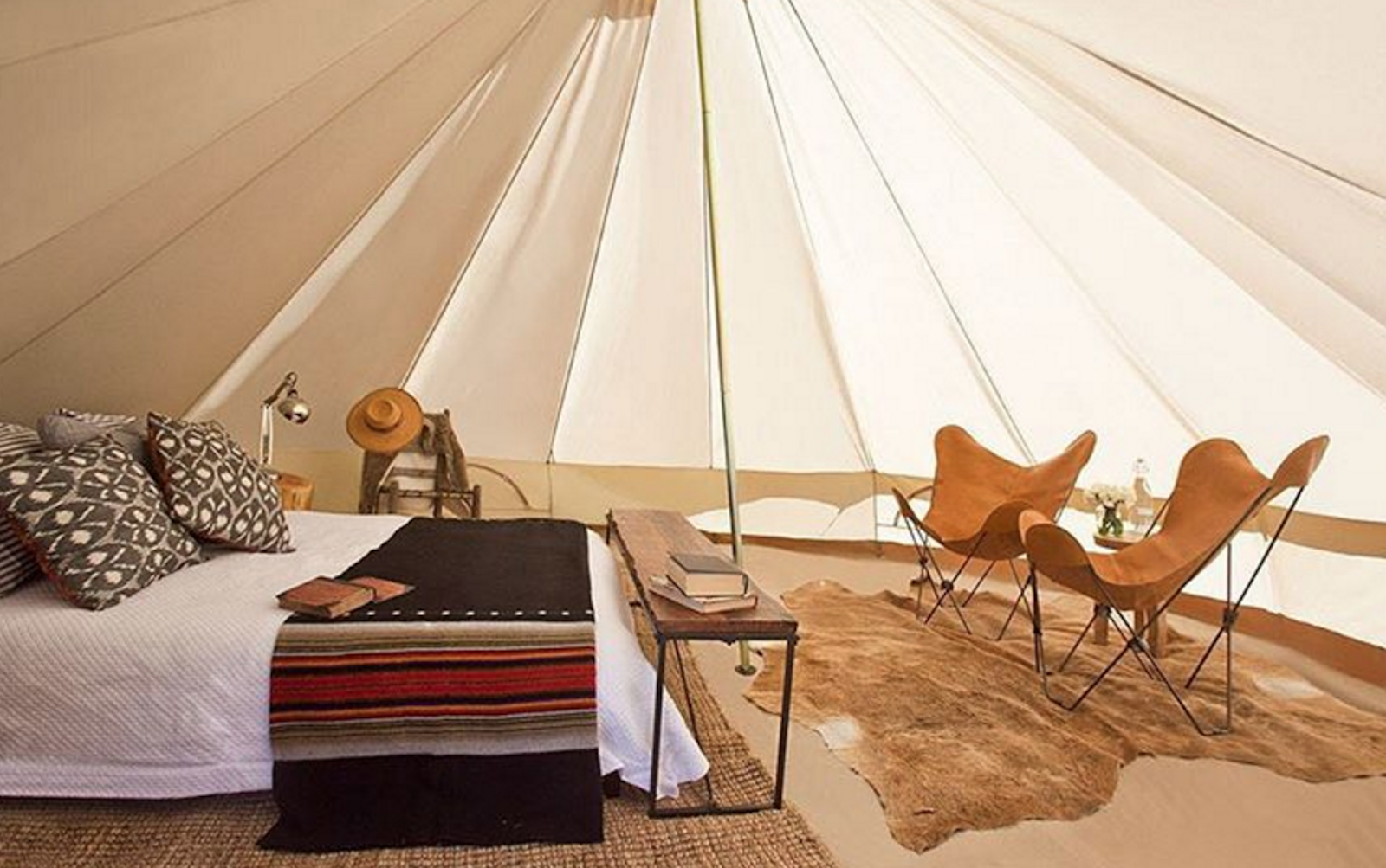 A glamping tent at Base Camp at Coachella music festival