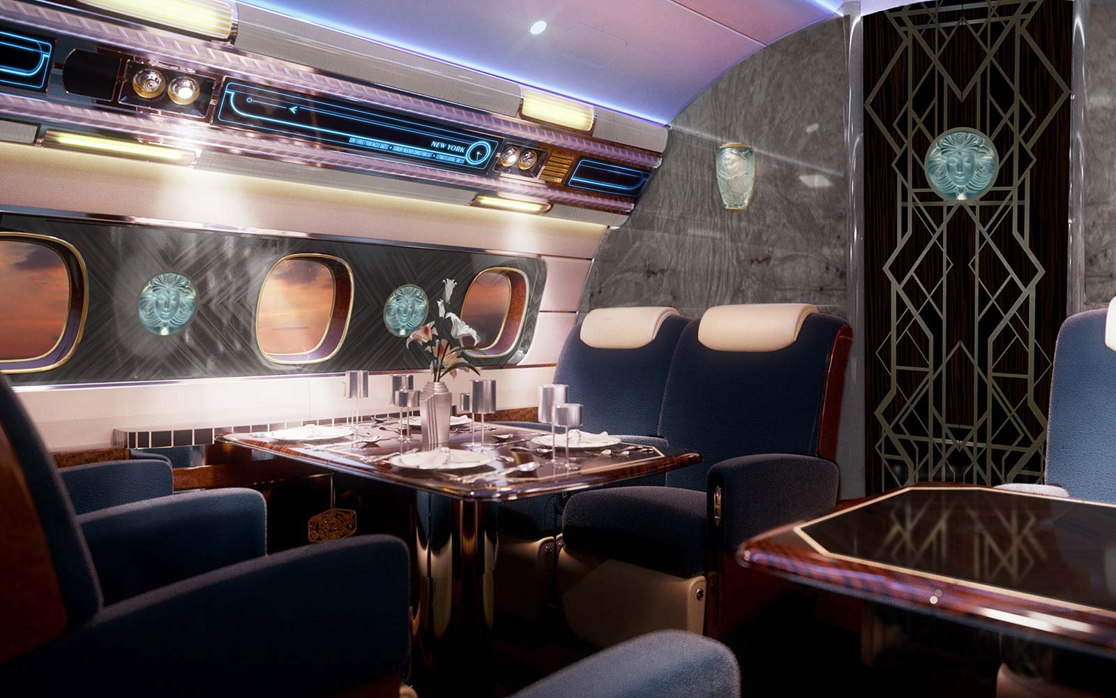 Dining On Board Art Deco Jet