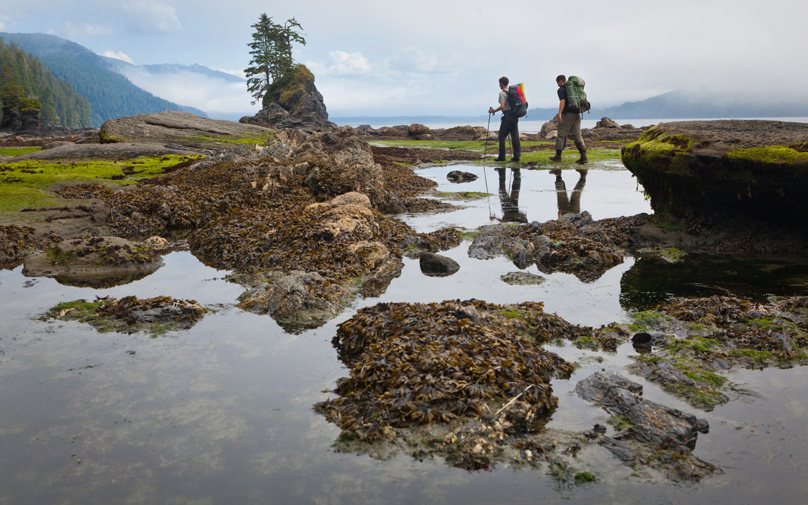 Hikers, Kellet Rock, West Coast Trail, Vancouver Island, British Columbia, Canada