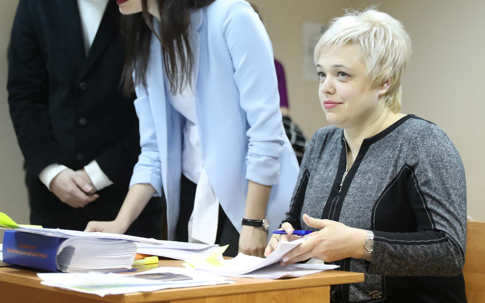 Aeroflot flight attendant Yevgenia Magurina in Moscow court