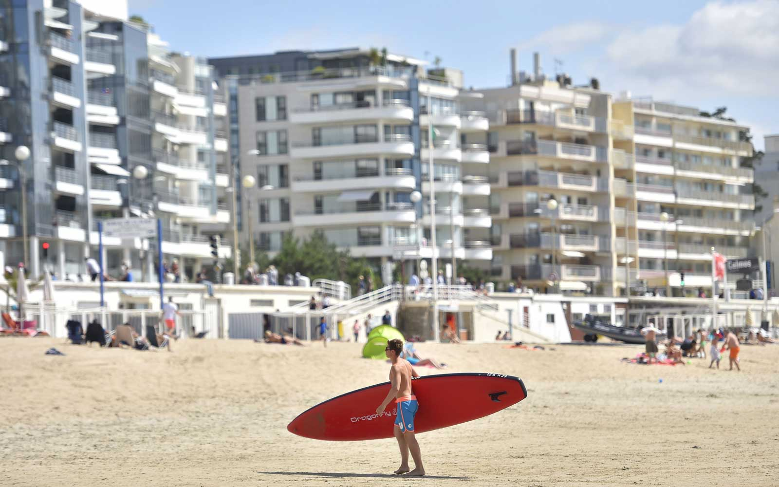 People enjoy time at the beach in La Baule,