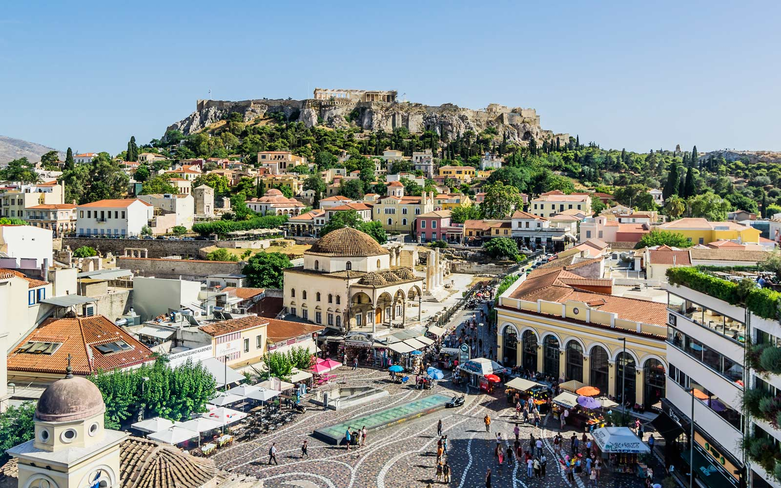 Monasteraki Square and Acropolis, Athens, Greece