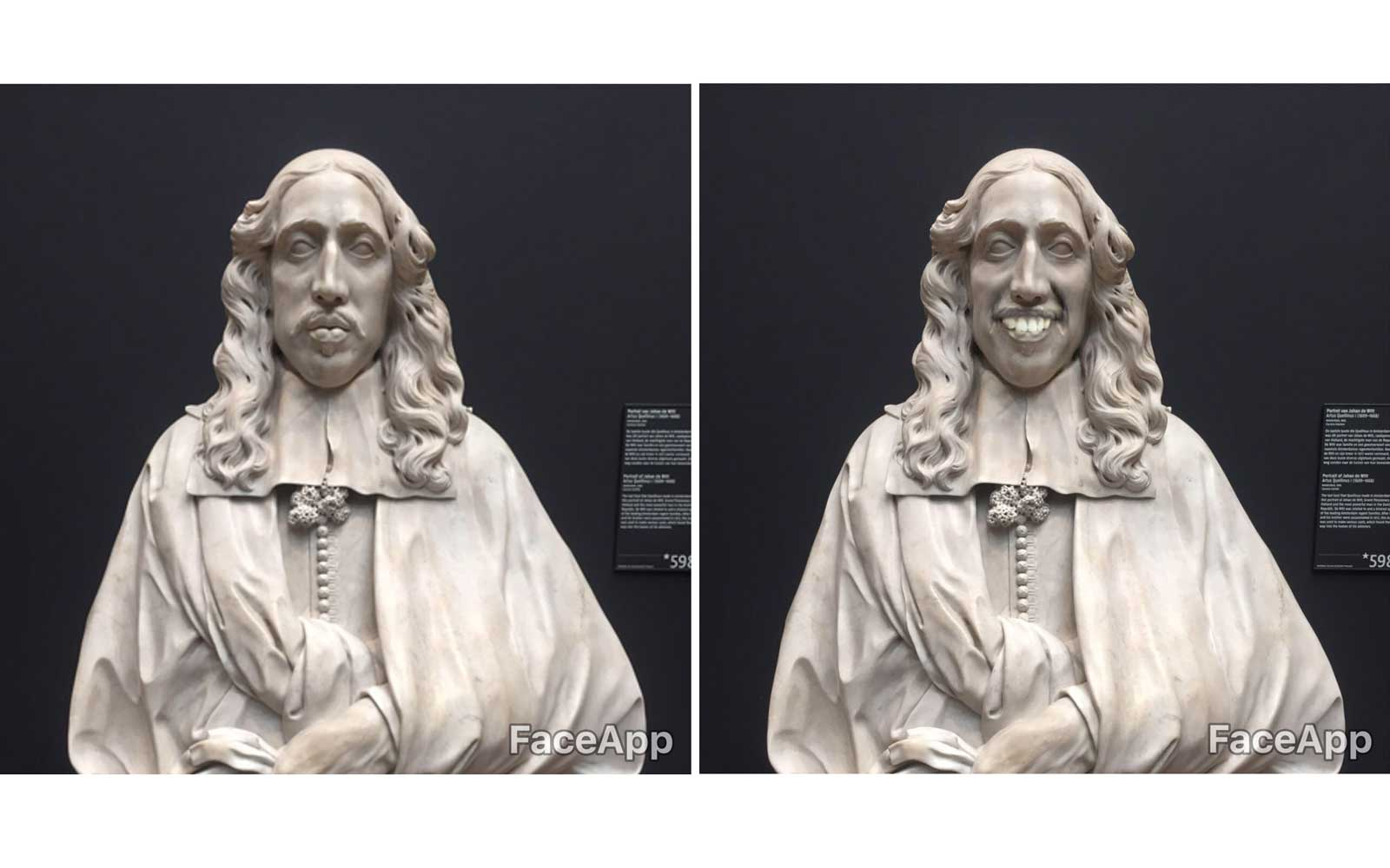 Masterpieces smile with FaceApp