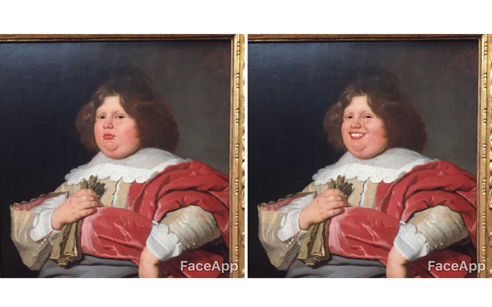 Museumgoer uses FaceApp to put smiles on the faces of artistic masterpieces