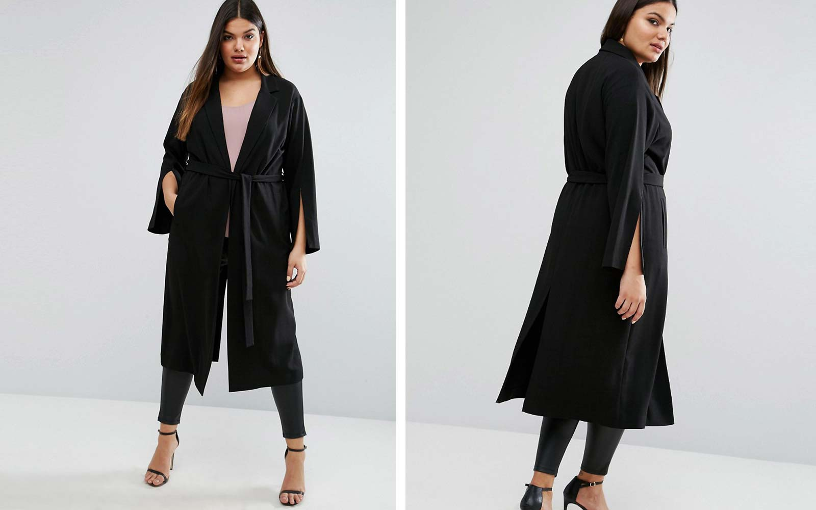 Asos black wrap coat