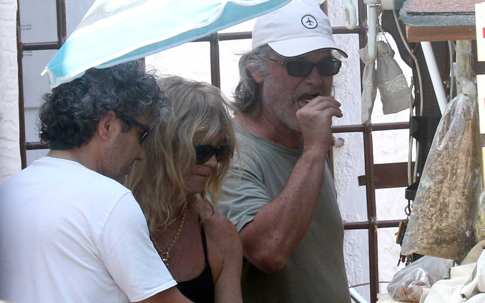 Kurt Russell and Goldie Hawn spotted on vacation on a Greek Island together.