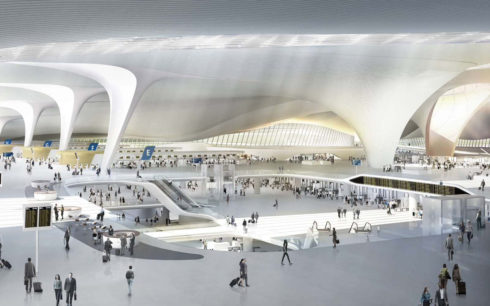 Interior, Beijing Airport Terminal Building, Zaha Hadid Architects
