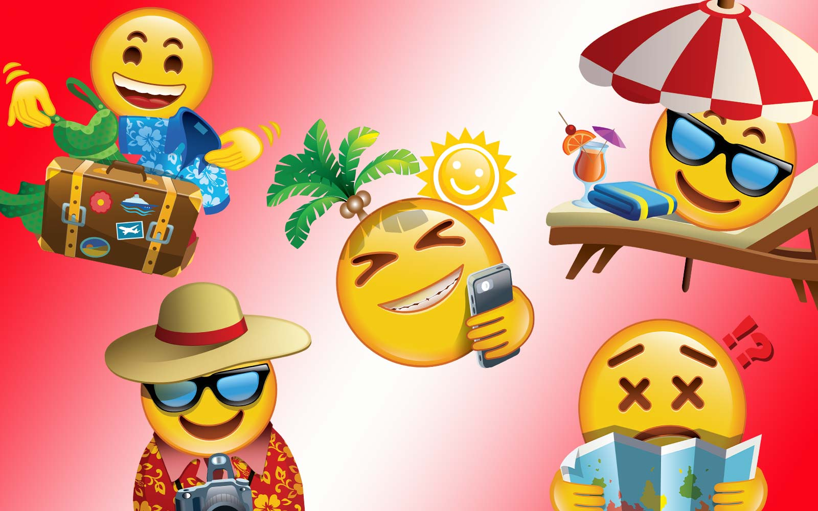 Booking.com Vacation Social Media Emojis