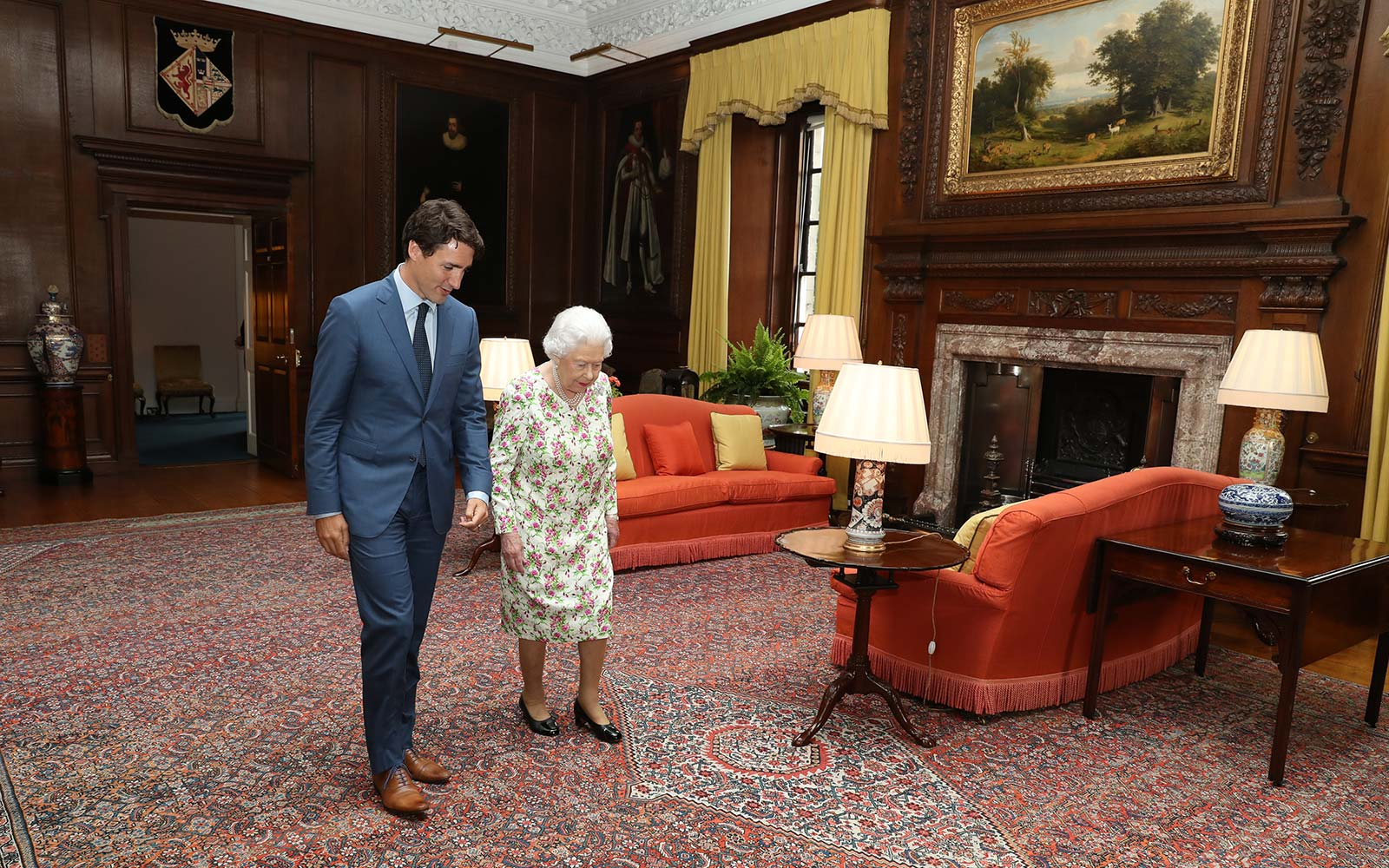 Queen Elizabeth II greets Canadian Prime Minister Justin Trudeau during an audience at the Palace of Holyroodhouse in Edinburgh, Scotland