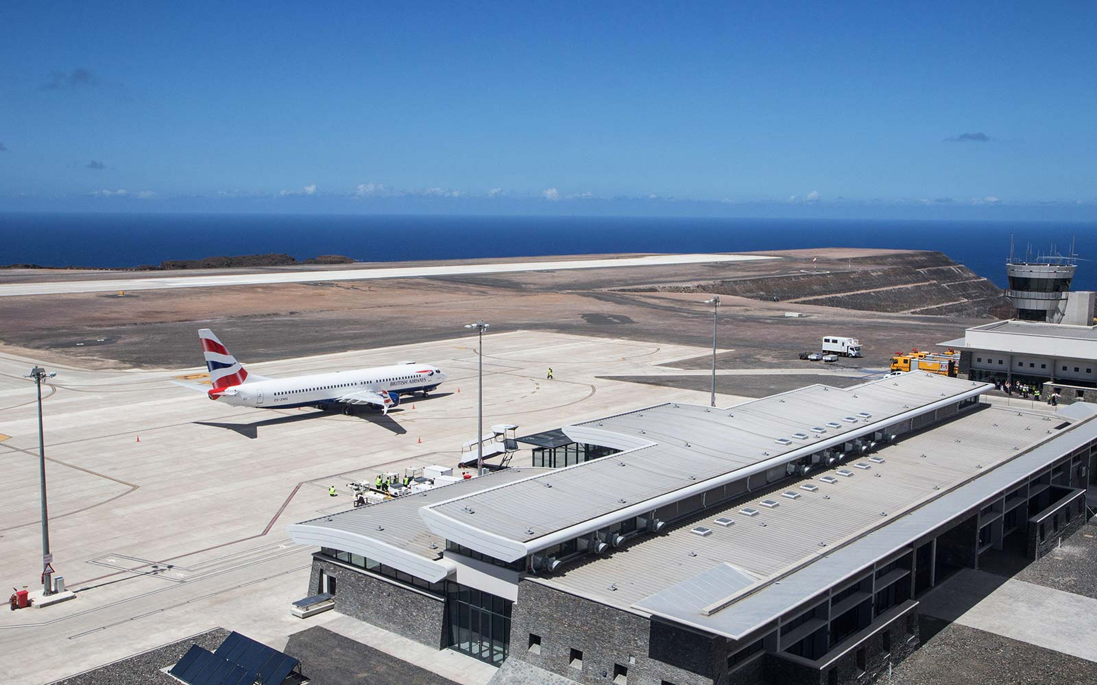 Islanders and tourists watch the THE FIRST ever commercial flight to the British island of St Helena. Saint Helena airport South Atlantic Ocean Ascension and Tristan da Cunha