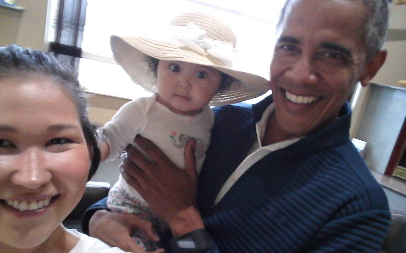Obama Couldn't Resist Taking an Airport Selfie With This Adorable Baby