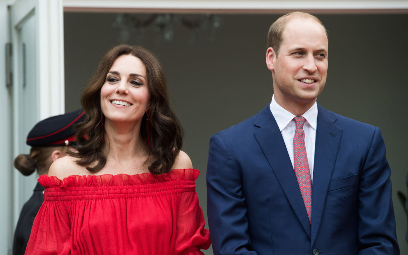 Princess Kate Bares Her Shoulders in Red Maxi Dress for Garden Party in Berlin