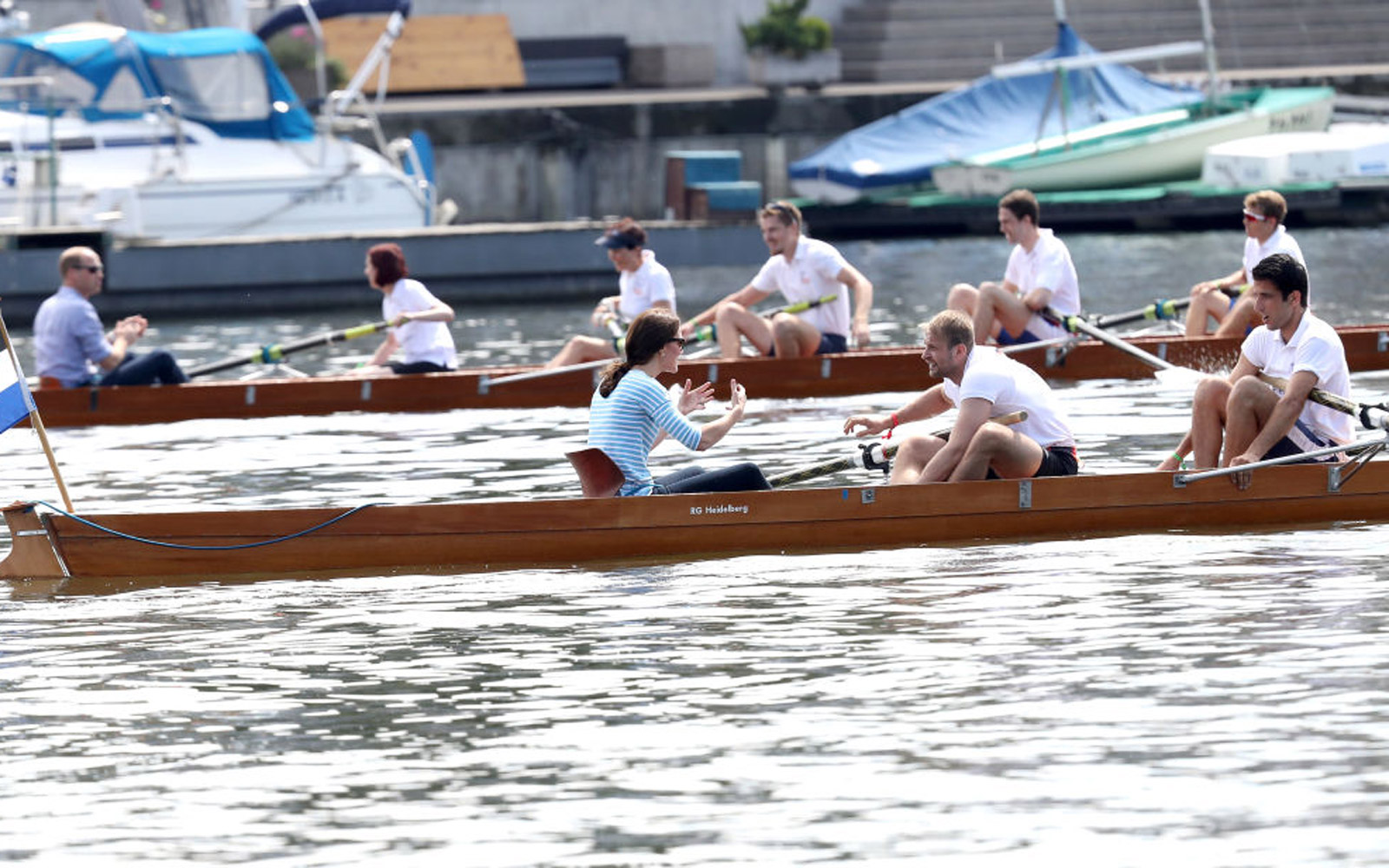 HEIDELBERG, GERMANY - JULY 20:  Prince William, Duke of Cambridge and Catherine, Duchess of Cambridge participate in a rowing race between the twinned town of Cambridge and Heidelberg on day 2 of their official visit to Germany on July 20, 2017 in Heidelb